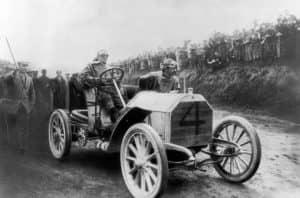 Men in vintage car
